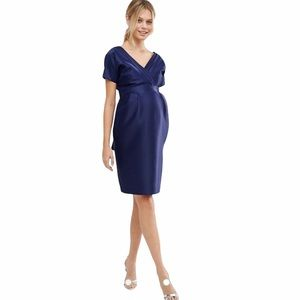 ASOS Maternity Dress with Bow Back Navy Blue